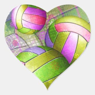 Grungy Girls' Volleyball Heart Sticker