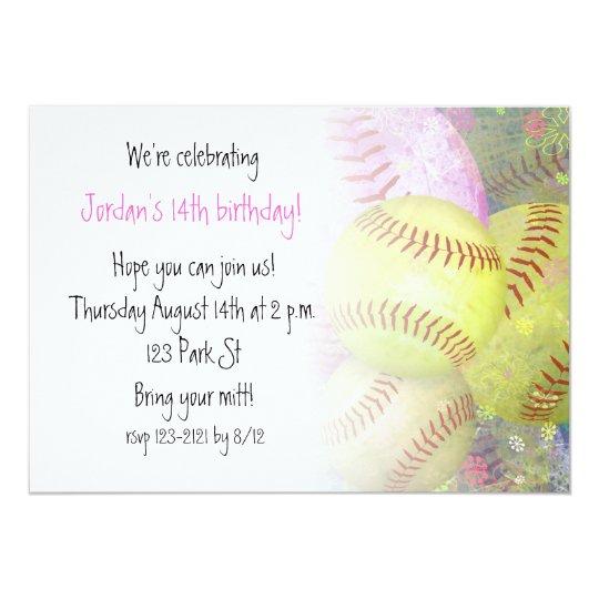 Grungy Girly Softball Card