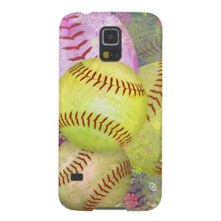 Grungy Girly Softball Cases For Galaxy S5