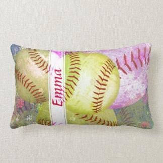 Grungy Girly Softball Lumbar Pillow