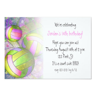 """Grungy Girly Volleyball 5"""" X 7"""" Invitation Card"""