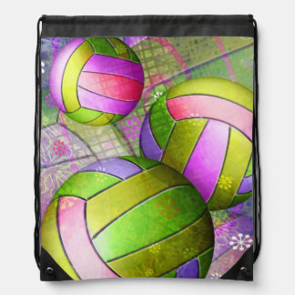 Grungy Girly Volleyball Drawstring Bag