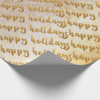 Grungy Gold Happy Holidays Script Glam White Wrapping Paper