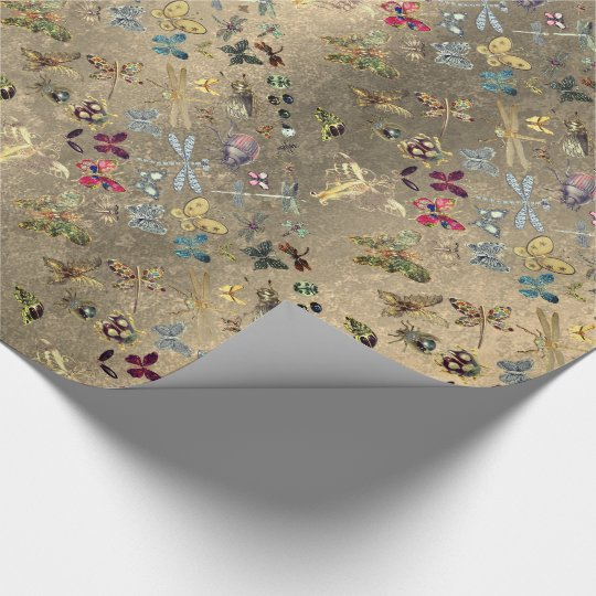Grungy Gold Meadow Butterfly Insects Gems Diamond