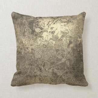 Grungy Golden Foxier Ivory Vintage Floral Ornament Throw Pillow