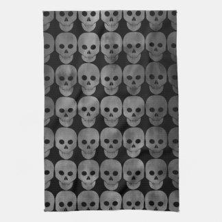Grungy gothic skulls Halloween kitchen decor Kitchen Towel