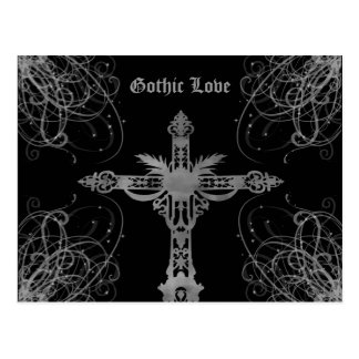 Grungy gray cross Gothic Love Postcard
