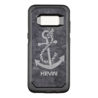 Grungy Gray Metallic Texture & White Boat Anchor OtterBox Commuter Samsung Galaxy S8 Case