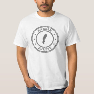Grungy Gray Travel Stamp Sweden T-Shirt