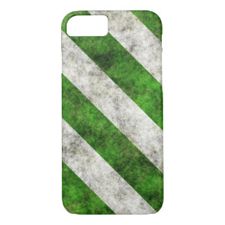 Grungy Green and White Diagonal Stripes iPhone 7 Case