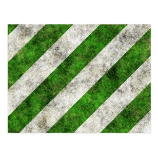 Grungy Green and White Diagonal Stripes Postcard