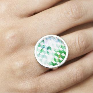 Grungy Green Geometric Box Pattern Ring