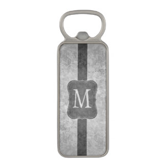 Grungy grey personalized monogram magnetic bottle opener