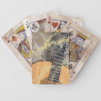 Grungy guitar frets bicycle playing cards