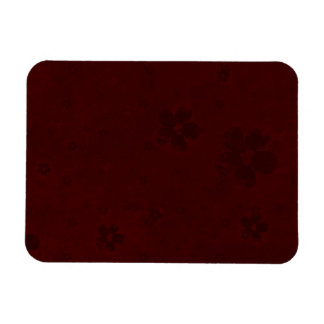 Grungy Hearts and Flowers on Dark Red Rectangular Photo Magnet