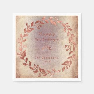 Grungy Ivory Purple Rose Pink Gold Wedding Paper Napkin