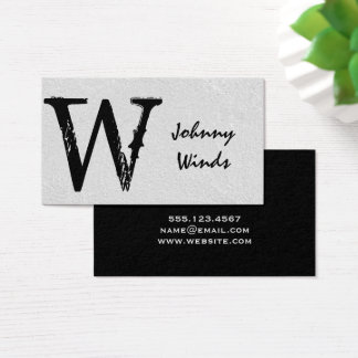 Grungy Large Type Monogram Business Card