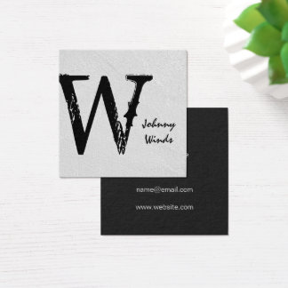 Grungy Large Type Monogram Square Business Card