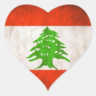 Grungy Lebanon Flag Heart Sticker