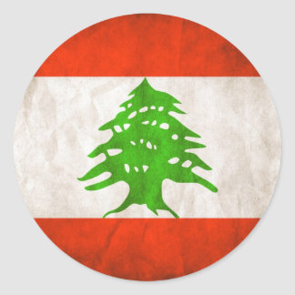 Grungy Lebanon Flag Round Sticker