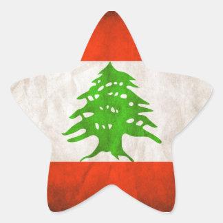Grungy Lebanon Flag Star Sticker