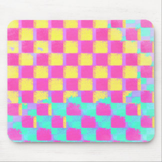 Grungy Lemon berry Mint Checkerboard Pattern Mouse Pad