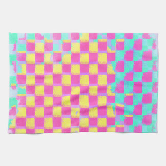 Grungy Lemonberry Mint Checkerboard Pattern Kitchen Towel