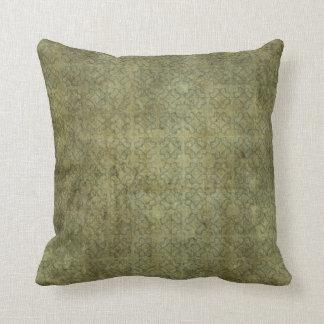 Grungy Moss Green Pattern Throw Pillow