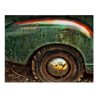 Grungy Old Green Rusty Truck Hubcap Tire -Postcard Postcard