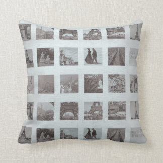 Grungy Paris Collage Gray Eiffel Tower Throw Pillow