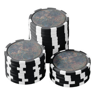 Grungy Patterns with Messy Patchwork of Textures Poker Chips
