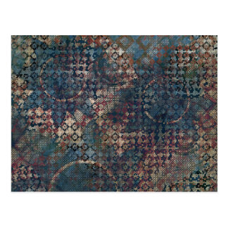 Grungy Patterns with Messy Patchwork of Textures Postcard
