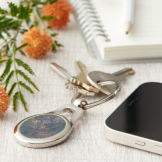 Grungy Patterns with Messy Patchwork of Textures Silver-Colored Oval Keychain