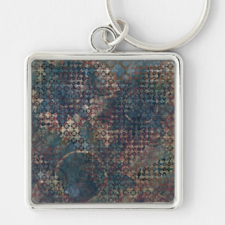 Grungy Patterns with Messy Patchwork of Textures Silver-Colored Square Keychain