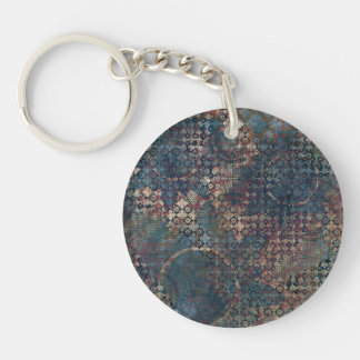 Grungy Patterns with Messy Patchwork of Textures Single-Sided Round Acrylic Keychain