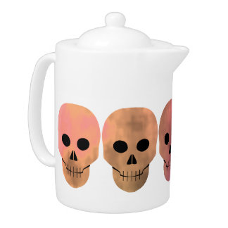 Grungy pink and yellow tones punk skulls