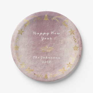 Grungy Pink Rose Gold Gray Christmas Paper Plate