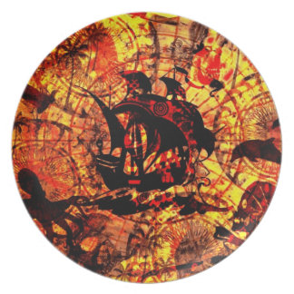 Grungy pirate sailing boat background plate