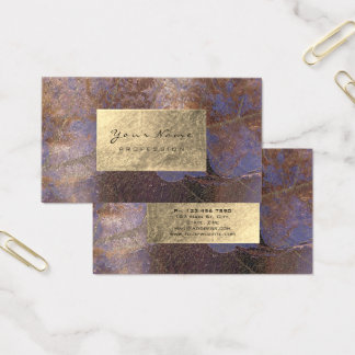 Grungy Purple Copper Gold Foil Botanical Delicate Business Card