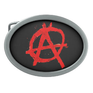 Grungy Red Anarchy Symbol Belt Buckle