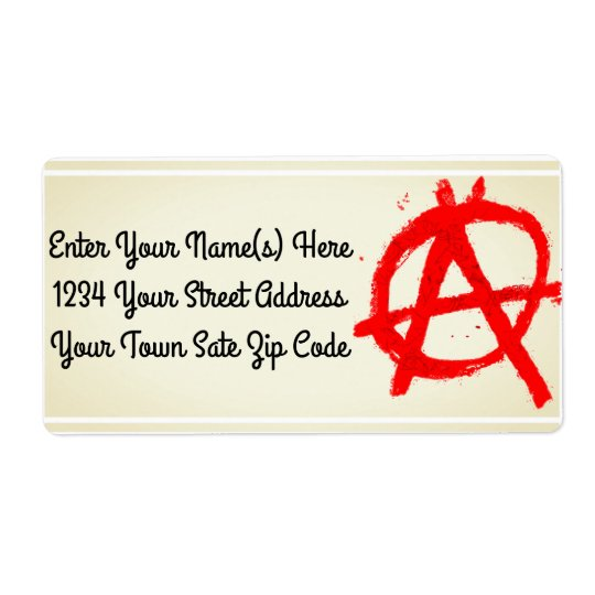 Grungy Red Anarchy Symbol Shipping Label