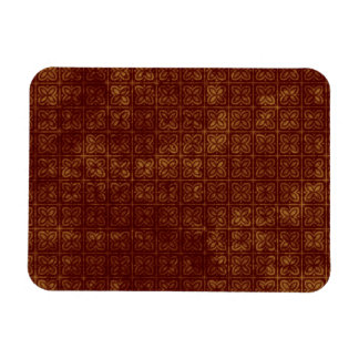 Grungy Red and Gold Floral Pattern Rectangular Photo Magnet