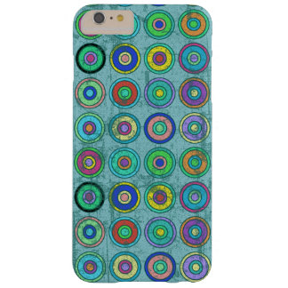 Grungy Retro Blue Circle Pattern Barely There iPhone 6 Plus Case