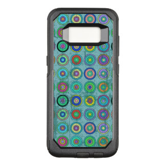 Grungy Retro Blue Circle Pattern OtterBox Commuter Samsung Galaxy S8 Case