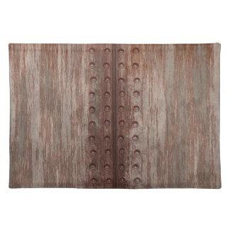 Grungy Riveted Rusty Metal Placemat