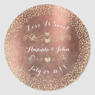 Grungy Rose Gold Glitter Save the Date Love Sweet Classic Round Sticker