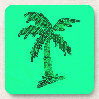 Grungy Sequined Palm Tree Image Drink Coaster