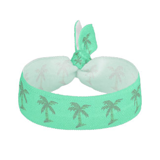 Grungy Sequined Palm Tree Image Ribbon Hair Tie