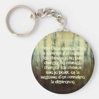 Grungy Serenity Prayer in French Keychain