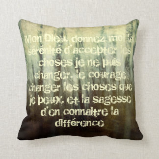 Grungy Serenity Prayer in French Pillow